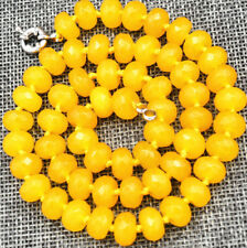 """Charming!Brazil 6x10mm topaz abacus faceted gem necklace 18"""" JN1557"""