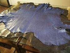 ostrich leather hide normal blue 100% genuine