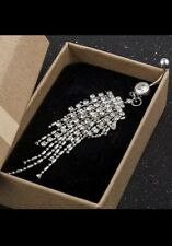 Crystal Tassle diamante silver belly Dangle Ring body jewellery Uk Seller