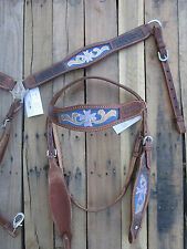 TURQUOISE BLUE CROSS WESTERN HORSE TOOLED LEATHER HEADSTALL BREAST COLLAR SHOW