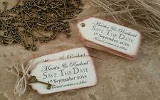 MAGNETIC SAVE THE DATES / tags, cards / with key charm . x 35