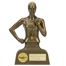 A1524C FEMALE RESIN SWIMMING TROPHY SIZE 16.5 CM FREE ENGRAVING