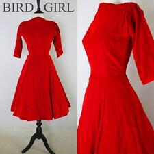 DIVINE ORIGINAL 1950S VINTAGE RED COTTON VELVET SWING COCKTAIL DRESS 6 XS