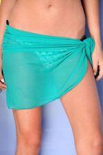 TEAL GREEN SHORT MESH SARONG PAREO Beach Coverup Wrap Skirt ~ MADE IN U.S.A.