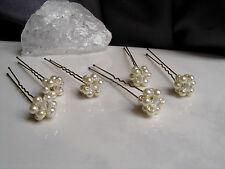 Neu~6 Haarnadeln mit Perlen~Blüten in creme 02