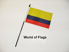 "COLOMBIA SMALL HAND WAVING FLAG 6"" x 4"" Colombian South America Crafts Display"