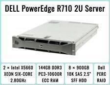DELL PowerEdge R710 Server 2×6-Core X5660 Xeon 2.8GHz  144GB RAM  8×900GB  H700