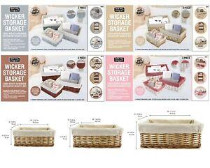 Set of 3 Wicker Storage Basket Liner Woven Handmade Decorative Hamper Basket Set