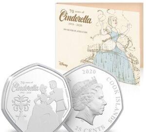 Cinderella 70th Anniversary Disney Coin Limited Edition Rare 50p Silver Plated