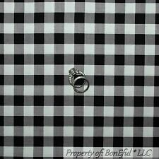BonEful Fabric FQ Cotton Quilt Black White Gray B&W Check Block Gingham Stripe L