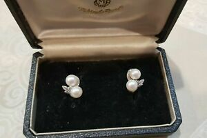 AUTHENTIC Vintage MIKIMOTO Sterling Silver Akoya Pearl screw back Earrings - EUC