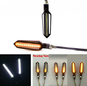 2x Water Flowing Motorcycle Scooter 24 LED Turn Signal Indicator Lights DRL Lamp
