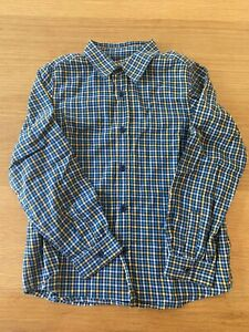 Bonpoint Boys Blue And Yellow Check Shirt, Sz 8 Years