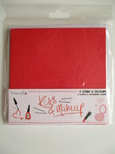 """Dovecraft Kiss & Makeup 6x6"""" Cards & Envelopes 8 pack - 4 Pink 4 Red Valentine's"""