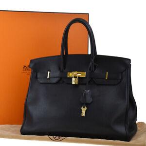 AUTHENTIC HERMES BIRKIN 35 HAND BAG GULLIVER LEATHER BLACK GOLD □A 188LA908