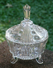Vintage Crystal Glass Diamond and Rib 3 Footed Dish with Lid.