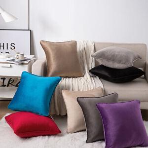 Soft French Velvet Cushion Covers Piped Edges Luxury Plush Plain 18 X 18,24 X 24