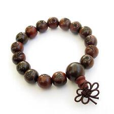12mm--Red Wood Buddha Word Tibet Buddhist Prayer Beads Mala Bracelet