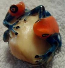 Wounaan Indian (2) Poison Dart Frog Tagua Carving-Panama 18042415L