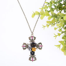 Vintage Gothic Fashion Skull Cross Pebble Flower Pendant Chain The Necklace