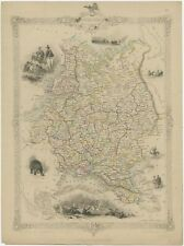 Antique Map of Russia in Europe by Tallis (c.1851)