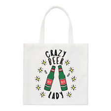 Crazy Beer Lady Stars Regular Tote Bag Funny Joke Drunk Mum Mothers Day Shopper