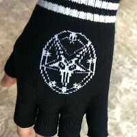 Baphomet Gloves Pair Pentagram Star Sabbatic Goat Occult Black Fingerless Knit