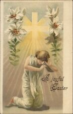 Easter - Woman Bathed in Light - Cross Lilies c1905 Postcard