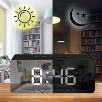 LED Digital Mirror Alarm Clock Night Lights Table Clock w/Snooze Thermometer USB