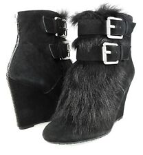 KORS Michael Kors IVANA Buckled Ankle Fur Wedge Boots Shearling Womens Shoes 5.5