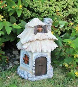 Solar Garden Ornament decor large fairy house pixie thatch outdoor statue home