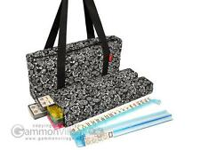 American Mah Jongg Set - Ivory Tiles, Modern Pushers - Black Paisley Soft Bag