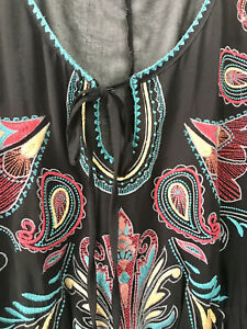 City Chic Ladies Sheer Black Embroidered Boho Beach Swimming Cover Up Size XL