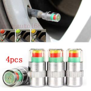 4x Car Tire Pressure Monitor Valve Stems Caps Sensor Indicator 3 Color Universal