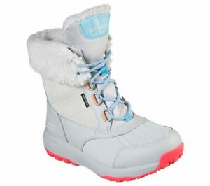 WOMEN SKECHERS ULTRA SNOW CAPPED GRAY OFF WHITE FUR WATERPROOF SNOW HIKING BOOT