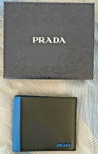 Prada Mens' Blue And Black Leather Bi Fold Wallet