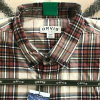 Orvis Men's Tartan Twill Long Sleeve Shirt - XL color Khaki