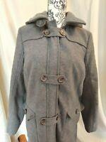LANDS END womens GRAY wool blend coat jacket sz 12 with HOOD NICE!