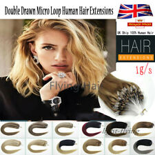 14''-24'' 8A Double Drawn Micro Bead Ring Loop Human Remy Hair Extensions 1GUK