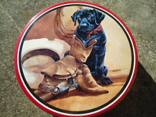 Round Red & Black Tin W/ Black Lab Cowboy Boots, Hat and Lariat on Front 6 ½ Inc