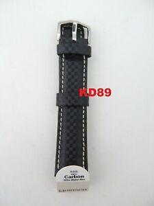 Genuine Hirsch CARBONE Strap Band 24mm BLACK / White Water resistant 100m
