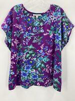 Isaac Mizrahi Live! Womens XL Scoop Neck Purple Floral T-Shirt