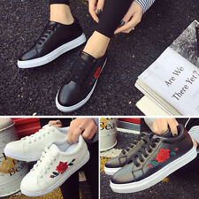 Women's Ladies Lace Up Sports Running Sneakers Embroidery Flower Trainers Shoes