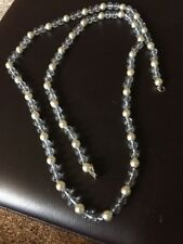 Kenneth Lane Very Long Clear Glass Bead And Pearl Necklace