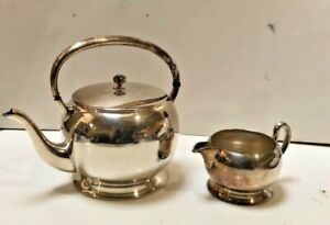 Vintage Academy Silver On Copper Teapot With Creamer