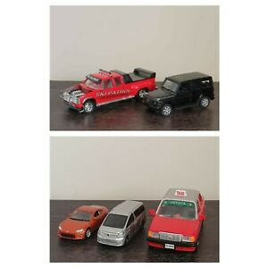 5 preloved assorted diecast Toyota toy model cars vehicles taxi Welly