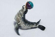 SWAROVSKI CRYSTAL BEJEWELED ENAMEL HINGED TRINKET BOX - CIRCUS SEAL WITH BALL