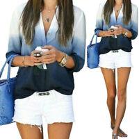 Women's Summer Soft Long Sleeve T-shirt V Neck Casual Loose Tops Blouse Shirt