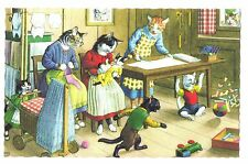 Mainzer postcard Dressed Cats happy family new baby # 4859 scalloped edges