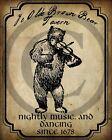 Primitive Colonial Folk Art Brown Bear Tavern Pub 1678 Sign Print 8x10